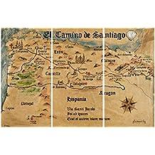 Camino De Santiago De Compostela - El Camino De Santiago Anno 1445, Jon Mellenthin, 3 Partes Cuadro, Lienzo Montado Sobre Bastidor (120 x 80cm)