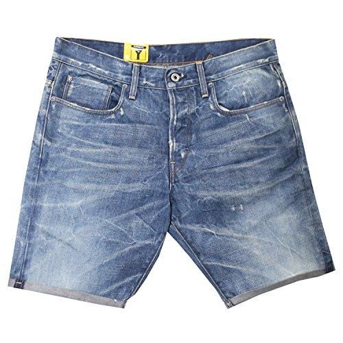 G-Star, 3301 Tapered, kurze Jeans, Baum Denim, blue used vitage, W 33 [15717]