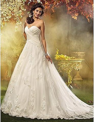Heart&M A-line / Princess Petite / Plus Sizes Wedding Dress - Classic & Timeless / Elegant & Luxurious Vintage Inspired Court Train , us 8 / uk 12 / eu