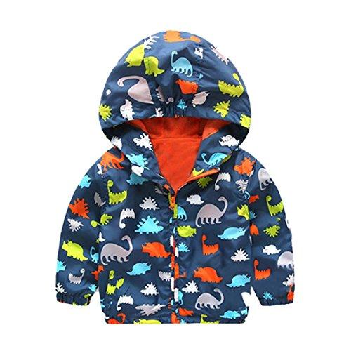 VENMO Säuglings starke Kleidung Mädchen Jungen Dinosaurier Kapuzen Zip Coat Mantel Warme Kinder Jacke Mit Kapuze Wintermantel Parka Schule Jacken Outwearlinie Jacke Oberbekleidung (100, Navy) (3t-jungen Blazer)