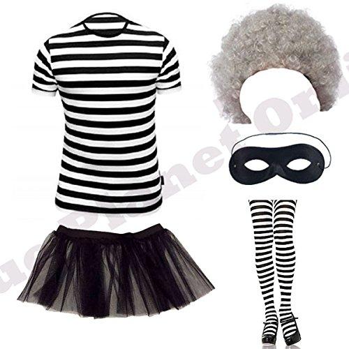 Gangster-Granny-Damen-Kostüm, komplett mit Oma-Perücke, gestreiftem T-Shirt, Rock, gestreiften Strumpfhosen und schwarzer Augenmaske (Gangster Oma Kostüm)