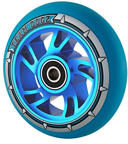 Hunde Pro 4100mm Legierung Metall Core Swirl Stunt Scooter Rad ABEC 988A PU, Blue PU Blue Core ()