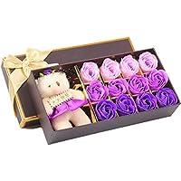 d.b 12 rosa sapone da bagno regalo fiore set con una bella orso, (senza conservanti) sapone dell