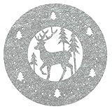 heimtexland ® Filz-Untersetzer 2er Set rund 35cm Grau Hirsch gestanzt Weihnachten Deko Tischset Typ608