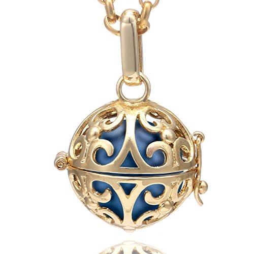 Morella Collana Donna in Acciaio Inox Oro 70 cm con Ciondolo Oro e Sfera di zirconi Blu Ø 16 mm in Sacchetto di Velluto