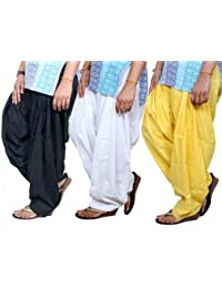 ROOLIUMS ® (Brand Factory Outlet) Punjabi Patiala Salwar Combo 3 - Free Size (Black, White,Yellow)