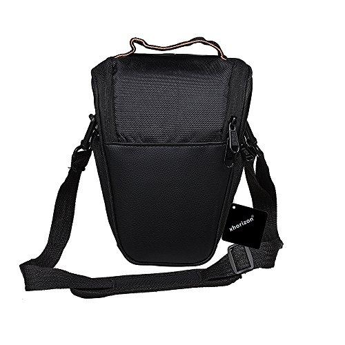 xhorizon TM MLK Easy Access Black Housse en cuir en cuir PU pour Canon EOS 1300D, 1200D, 100D 750D 760D 700D, 650D, 70D 60D, 50D, 40D, 7D, 6D, 5D, SX50, SX60 Nikon D3300, D3200, D3400, D7100, D72000, D5300, D5500