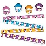 """Verstellbare Schnapp-Armbänder """"Regenbogen-Einhorn"""" für Kinder als kleine Überraschung oder als Preis bei Partyspielen (4 Stück)"""