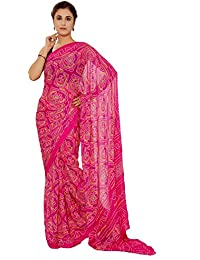 Aaradhya Fashion Women Crepe Saree with Blouse Piece (AFMOSS 0136_Rani)