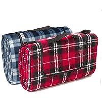 Manta de picnic, de Signature Leisure, de lana, a cuadros, con forro polar, impermeable, ligera y compacta, para que bebés y niños gateen o jueguen, grande, de 150 x 180 cm, rosso