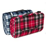 Signature Leisure Red Tartan or Blue/White Tartan Check Large 150x180cm Fleece Picnic Blanket with Waterproof Backing - Lightweight Compact Picnic Travel Rug - Baby Crawling or Child Play Mat (Red)