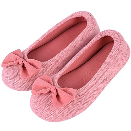 EverFoams Damen Gemütlich Leicht Frottee Baumwolle Memory Foam Ballerina Hausschuhe, Rosa, 42/43 EU