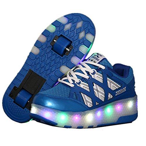 Aizeroth-uk unisex bambino led scarpe con rotelle automatiche skate formatori sportive ginnastica lampeggiante outdoor multisport running sneaker per ragazze e ragazzi (29 eu, a28royal blue)
