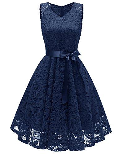 Misshow Partykleid Damen Kurz Elegant Spitze Rundhalsausschnitt Hochzeitskleid Prom Dress