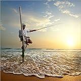 Poster 60 x 60 cm: Fischer auf Stab am Indischen Ozean, Sri