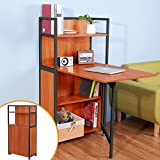 BTM Compact Computer Desk 4 Display Storage Shelves With Hideaway Folding Study Laptop Desk Table Home Office Furniture(Walnut Coffee)