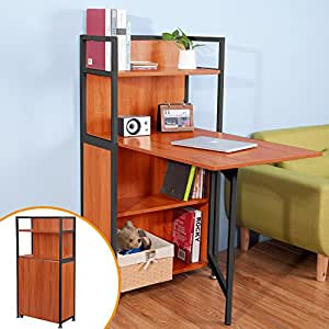 LIFE CARVER Compact Computer Desk 4 Display Storage Shelves With Hideaway Fol