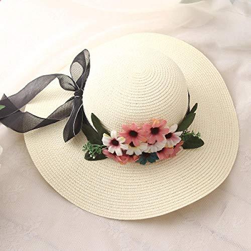 `Star EmptyStrohhut Blumen-Rand-Damen-Sommer-Strohhut-Jugend-Hüte Für Frauen-Schatten-Sonnenhut-Mädchen-Strand-Kappen Leisure @ Creamy-White