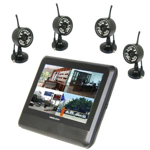 "Preisvergleich Produktbild BW (Night Vision up to 15M) Wireless Home 4CH CCTV DVR Day Night Security Camera Surveillance System Kit with 7"" TFT LCD and 4 digital Cameras (Support Motion Detecting REC and The TF Card not included)"
