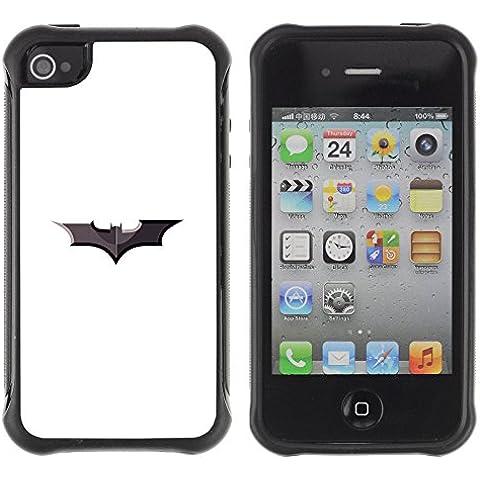 ZAKO Cases / Apple Iphone 4 / 4S / Minimalist Batman Sign / Robusto Prueba de choques Caso Billetera cubierta Shell Armor Funda Case Cover Slim Armor