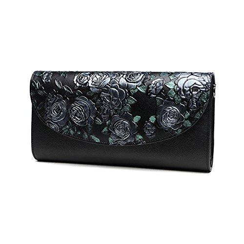 Sacchetto di mano, sacchetto di mano delle signore, sacchetto a mano, fascia di grande capacità di cuoio di tendenza della moda, pacchetto di cena di banchetto ( Colore : Blu ) Silver rose