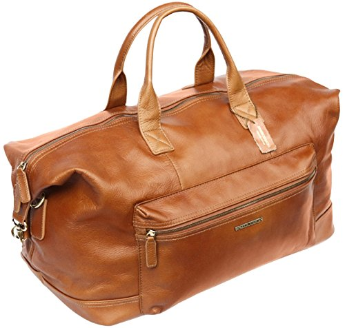 Grand sac fourre-tout - voyage/weekend - taille cabine - cuir - marron clair