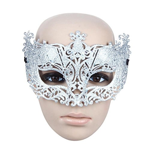 Generic Fancy Venetian Masquerade Women Mask Kostüm Party Face Mask Silber ideal für eine Masquerade Karneval Party, Ball, Kostüm spielen, Cosplay, PROM, Hochzeit, Halloween Party (Schnelle Kostüm Erwachsene Für Ideen)
