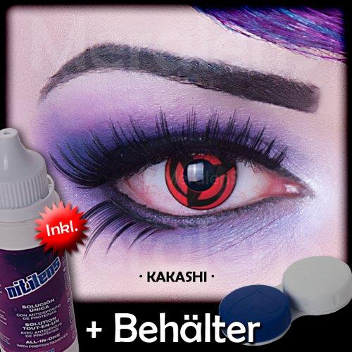 Meralens A0481 Kakashi Kontaktlinsen mit Pflegemittel mit Behälter ohne Stärke, 1er Pack (1 x 2 Stück) (Freddie Krüger Kostüme)