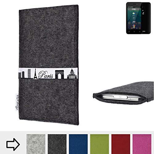 flat.design für Allview P42 Schutzhülle Handy Case Skyline mit Webband Paris - Maßanfertigung der Schutztasche Handy Hülle aus 100% Wollfilz (anthrazit) für Allview P42