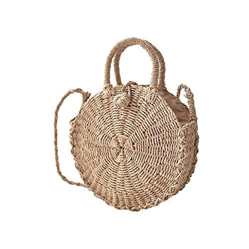 Toruiwa Damen Umhängetasche Stroh Crossbody Tasche Runde Weben Handtasche Strohtaschen Rattan Tasche für Sommer Strand -