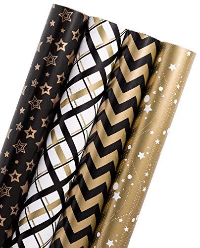 errolle - Black Gold Design Für Geburtstag, Urlaub, Baby Shower Geschenkverpackung - 4 Rollen - 76Cm X 305Cm Pro Rolle ()