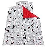TupTam Kinder Bettwäsche Set Wendebettwäsche 100x135 2 tlg, Farbe: Hündchen Grau/Rot, Größe: 135x100 cm
