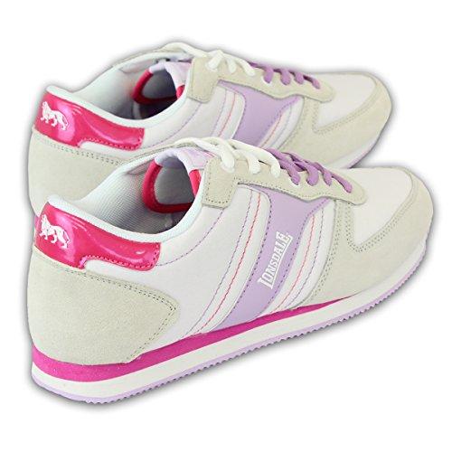 Lonsdale - Basket Pour Femmes Velcro Lacet Gym Sport BLANC/LILAS- LLA401