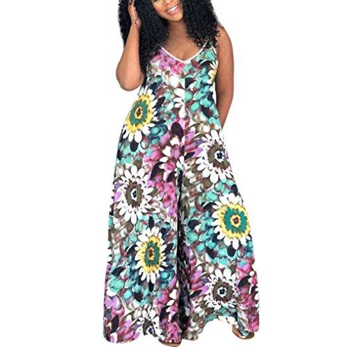 Damen Jumpsuit cinnamou Frauen-reizvoller trägerloser Boho Overall-Indie-Gabel-großer Blumendruck-Halter-weit-mit Beinen versehener Clubwear Sommer Overall, V-Ansatz, Ärmellos (S, Lila) -
