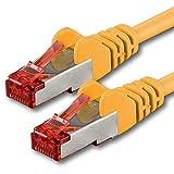 1aTTack.de - 1m - gelb - 1 Stück - Cat6 Cat.6 Netzwerkkabel Patchkabel Ethernetkabel Set Sftp 1000 Mbit/s kompatibel mit cat.5 cat.5e cat.6a cat.7