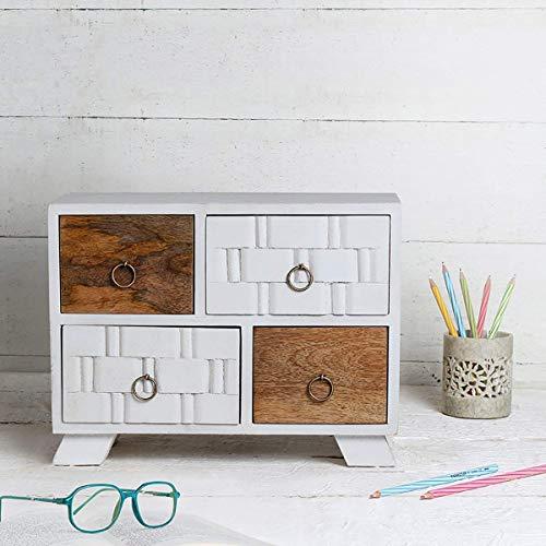 Cassettiera in legno con 4 scomparti per armadio Armadio Keepsake Storage Box multiuso per le donne Ragazze Home Decor