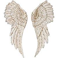 Objeto para pared Alas de ángel Largo 55 cm en blanco Resina artística