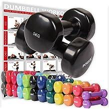 POWRX - Mancuernas vinilo 8 kg set (2 x 4 kg) + PDF Workout