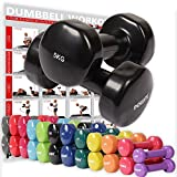 POWRX Vinyl Hanteln Paar Ideal für Gymnastik Aerobic Pilates 0,5 kg - 10 kg I Kurzhantel Set in...