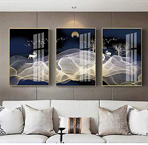 Tomssl moderna luce lega di alluminio decorazione soggiorno feng shui astratto bianco collina alce di buon auspicio pittura micro-spray pittura plexiglass 3 pz / 30x40 cm / 35x50 cm bella
