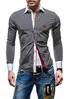 BOLF Langarm Herrenhemd Hemd Figurbetont Freizeit Slim Fit 4784-1