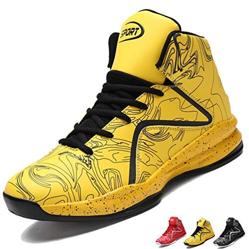 LANSEYAOJI Basketball Schuhe Herren Outdoor Anti-Rutsch Sneaker High-Top Sportschuhe Laufeschuhe Atmungsaktiv Ausbildung Turnschuhe Verschleißfeste Dämpfung Basketballstiefel,Gelb,EU44 - Aus Basketball-schuhe