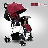 QXMEI Mini Kinderwagen Kann mit Einer Hand Zusammenklappbar ins Flugzeug Sehr Leicht und Klein Reisebuggy Kindersportwagen,Red
