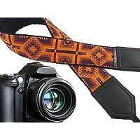 Ethnic Kameragurt. Inspiriert von American Indians. Orange und Dark Purple DSLR/SLR Kamera Gurt. Caramel. Kamera Zubehör. 00380