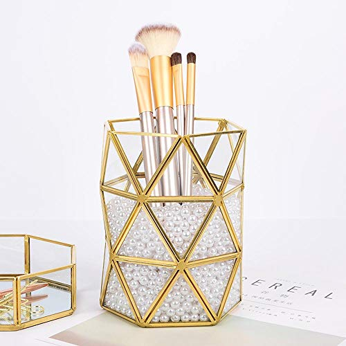 Pawaca Make Up Pinsel Halter 15 cm Handarbeit Gold Messing Rand Glas Geometrische Stifthalter Vintage Schmuck Organizer Blumentöpfe Schreibtisch Dekoration (Gold Rand Gläser)