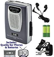 Retro Portable Personal Cassette Tape Player & Radio - inc Earphones �?? Built-In Speaker - inc Batteries (Exe VS-38 Package) (Space Grey (Inc Batteries & Power Adapter))