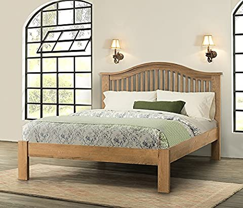 Hartfield Chunky Wood Rustic Oak 4'6 Double Size Bed, Medium Oak Oiled Finish, Double Size