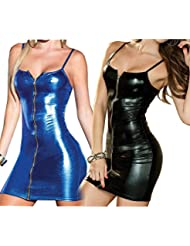 Ostenx Sexy Wetlook Minikleid Spitze Kleid Fetisch Abendkleid Reizwäsche Fetish Schwarz …