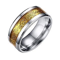 Idea Regalo - Contever® Acciaio Inossidabile Celtico Anello Con Modello Drago Intarsiato Per Anniversario / Impegno / Wedding Band Colore Dorato - Dimensione 7 #