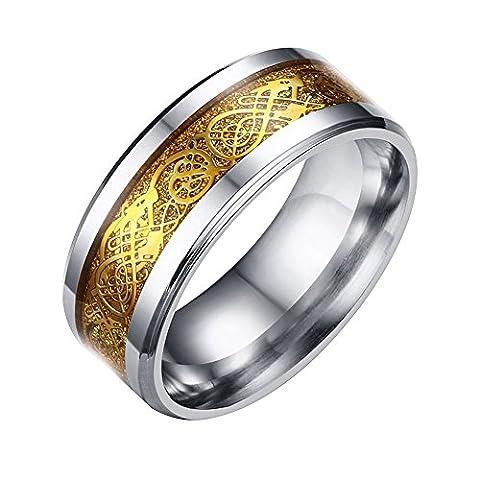 Contever® Edelstahl Drache Muster Abgeschrägte Keltischer Celtic Einlage Ehering Ring Band Schmuck Fit Herren Für Anniversary / Engagement / Wedding Band goldene Farbe - Größe 12 #